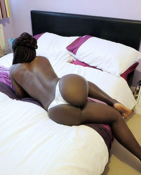 Bare ample black mummy in fat boots...
