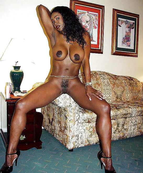 Huge-boobed black housewife with the..
