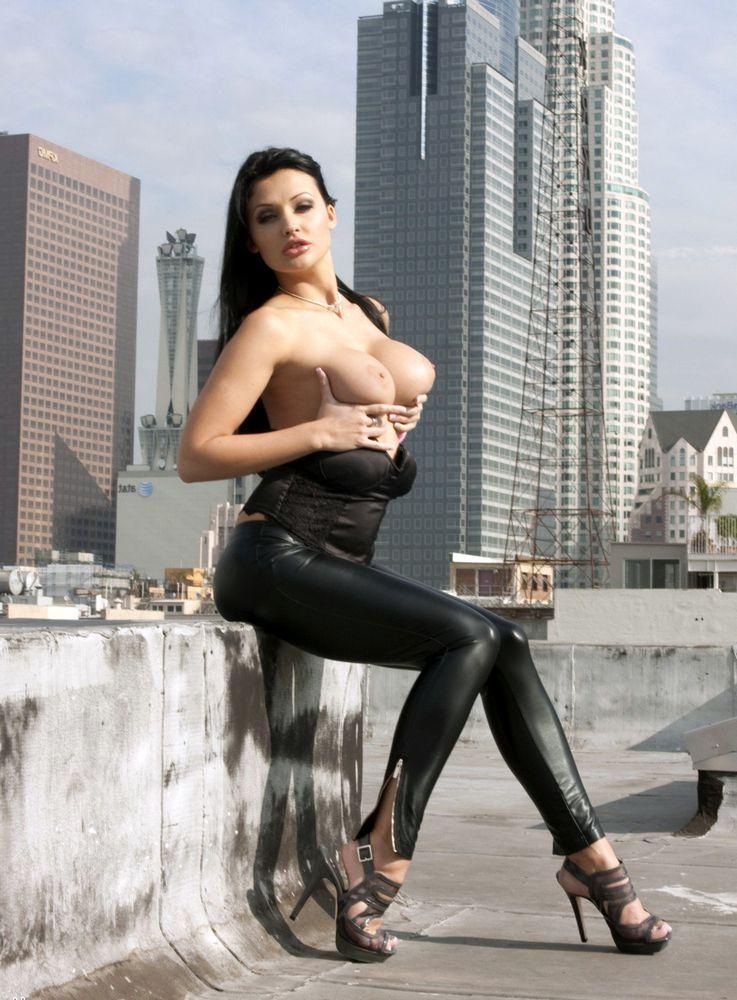 Huge-titted model Aletta Ocean posing..