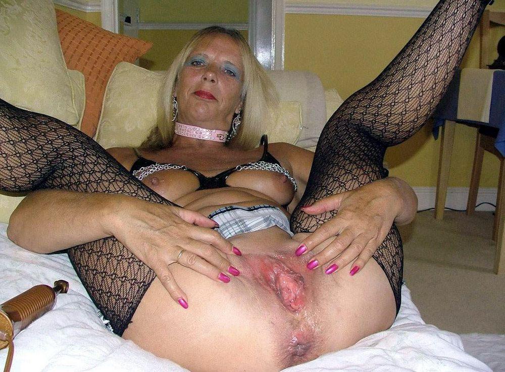Bizarre grandma in a negligee, crimson..
