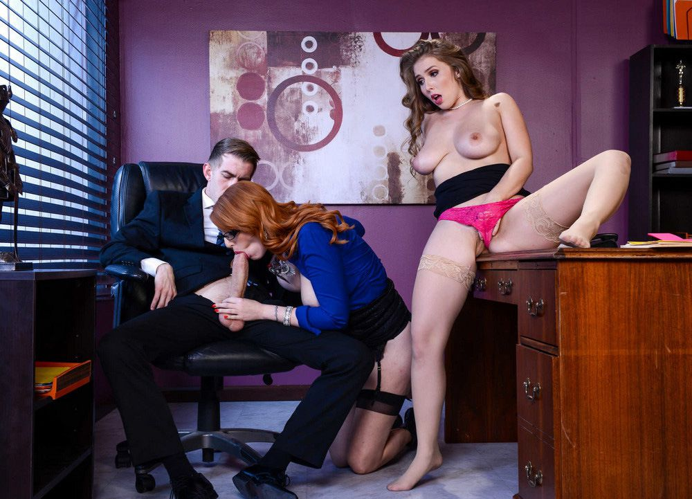 Super hot secretaries Lena Paul and..