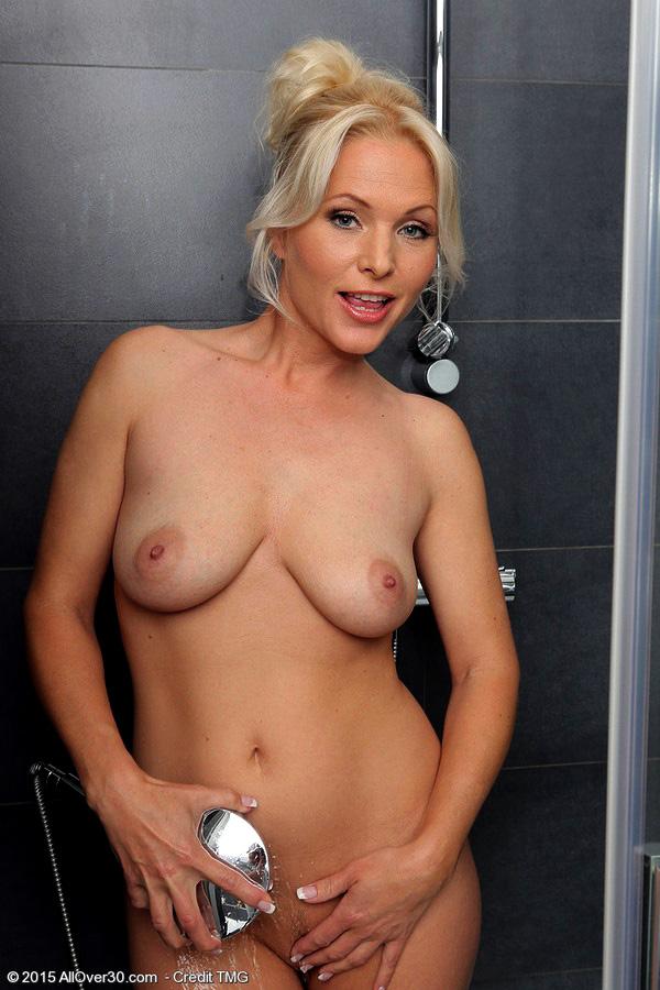 Platinum-blonde Cougar Marlene opening..