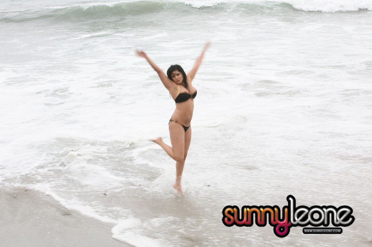 Indian model poses in bathing suit on..