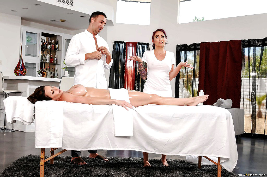 Inked masseur Monique joined by Mummy..